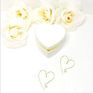 Heart of Gold Earrings in a Ceramic Heart Box